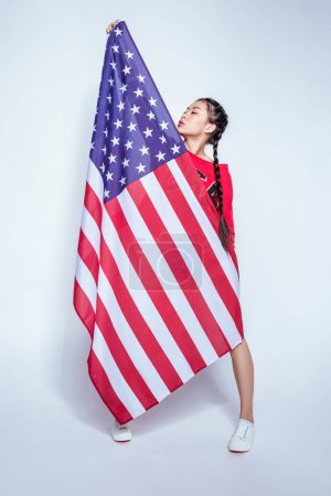 Asian girl with american flag