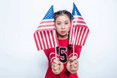 asian girl with american flags