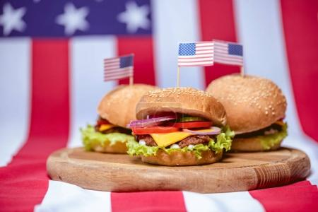 Hamburgers with american flags
