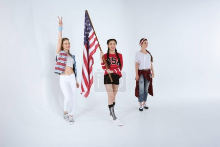 2 young women with american flag