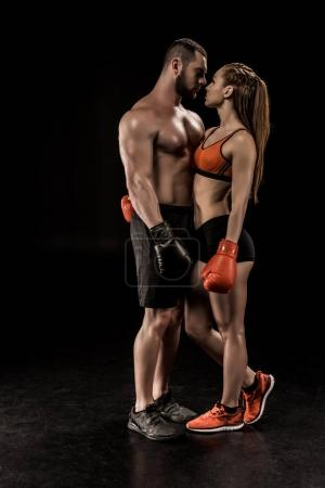 Young couple of boxers