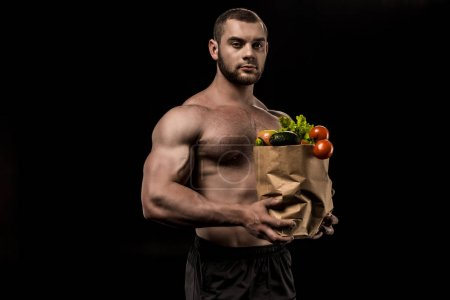 shirtless man with healthy food