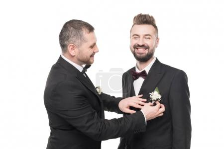 couple of grooms preparing to wedding day