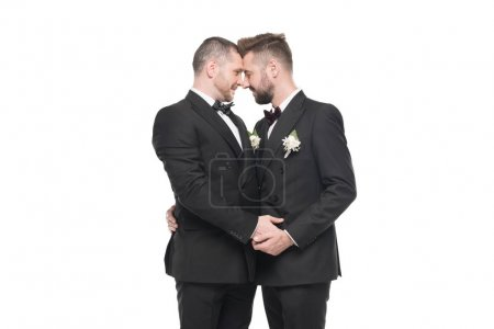 Photo for Homosexual couple of grooms in suits able to kiss isolated on white - Royalty Free Image