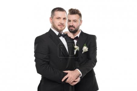 Photo for Couple of grooms in suits embracing and looking at camera isolated on white - Royalty Free Image