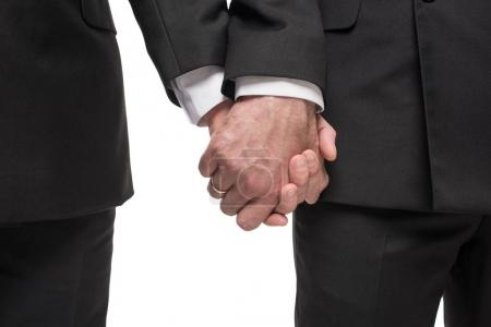 Photo for Cropped shot of homosexual couple in suits holding hands isolated on white - Royalty Free Image
