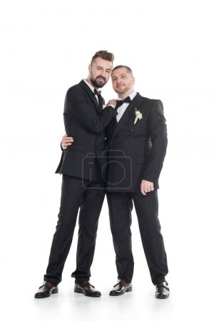 Photo for Homosexual couple of grooms in tuxedos embracing while standing together isolated on white - Royalty Free Image