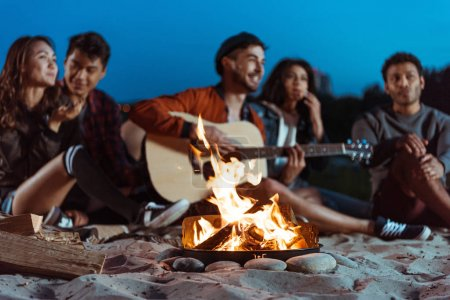 Young friends spending time near campfire