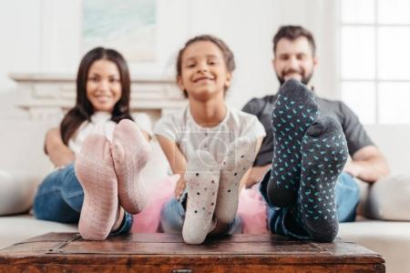 Family feet in socks