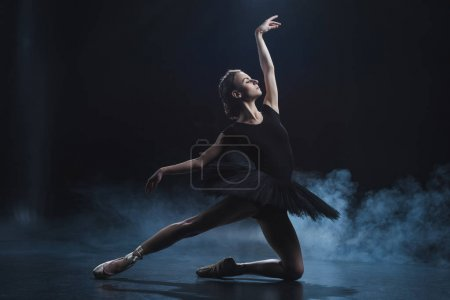 Photo for Elegant ballerina in pointe shoes and black tutu in studio with smoke - Royalty Free Image