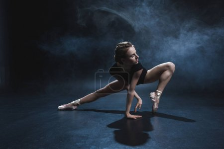 Photo for Attractive elegant ballerina dancing in pointe shoes and black leotard in studio with smoke - Royalty Free Image