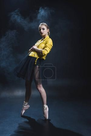 ballet dancer in leather jacket