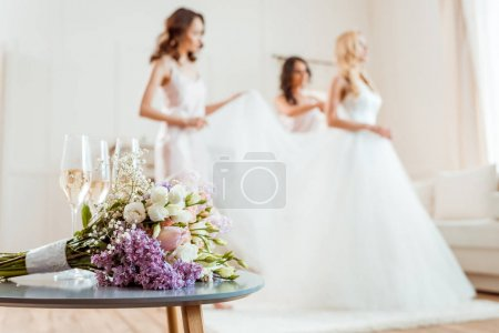 wedding bouquet with bride and bridesmaids