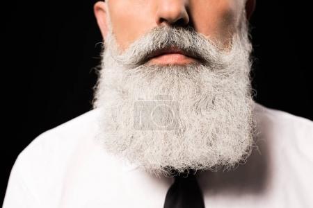 Foto de Recortada la foto de un hombre en una camisa blanca con barba gris de pelo largo - Imagen libre de derechos
