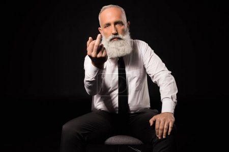 man showing middle finger