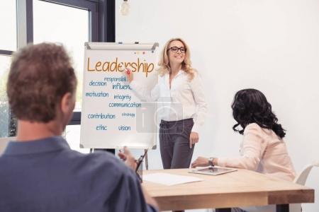 Partenaires d'affaires au cours de la présentation
