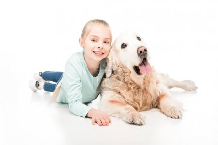 Adorable child with dog