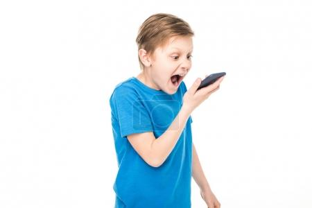 boy screaming at smartphone