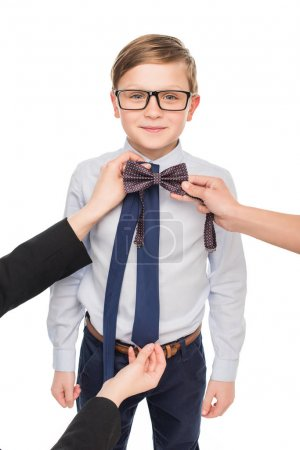 little boy with bow tie and necktie