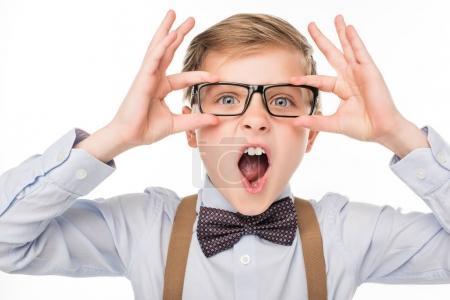 Emotional boy in eyeglasses