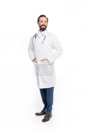 middle aged doctor with stethoscope
