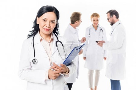 doctor with stethoscope and clipboard