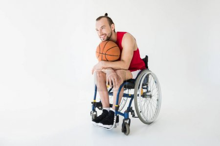 Basketball player sitting in wheelchair