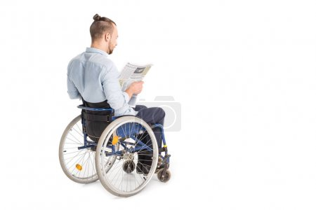disabled man with newspaper