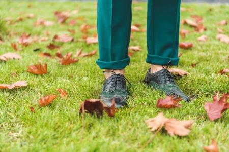 Legs on lawn with autumn foliage