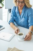 businesswoman using tablet with Google website