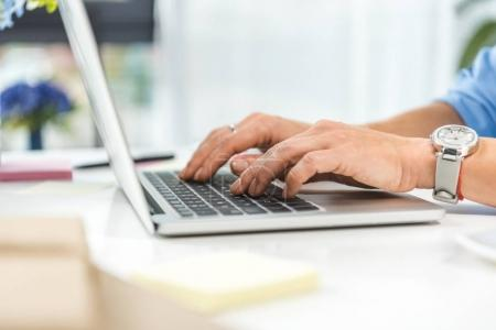 Photo for Cropped view of businesswoman typing in laptop - Royalty Free Image