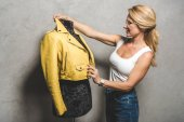 dressmaker with yellow leather jacket