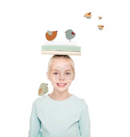 smiling schoolgirl with books