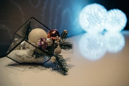 Photo for Close-up view of beautiful christmas decorations and shiny balls in hotel lobby - Royalty Free Image