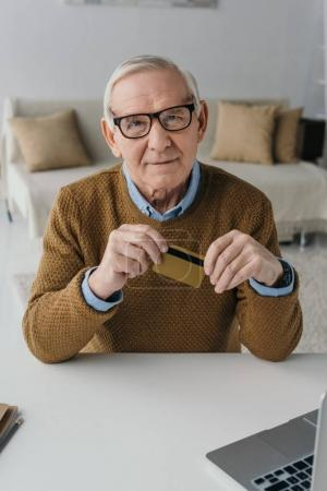 Senior confident man holding credit card by laptop