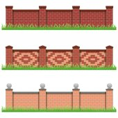 Set of brick stone fences for farm manor or garden