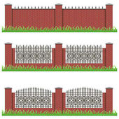 Set of manor or garden brick fences decorated with iron grille