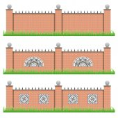 Set of manor or garden brick fences with decorative grille