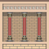 Knossos Palace Architecture elements wall and columns in historic minoan style Vector illustration