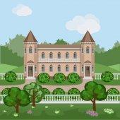 Cartoon fairy tale castle in summer landscape