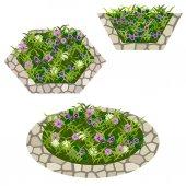 Set of flowers to create garden scene
