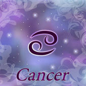 Cancer Zodiac sign on watercolor cosmic celestial background