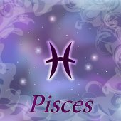 Pisces Zodiac sign on watercolor cosmic celestial background
