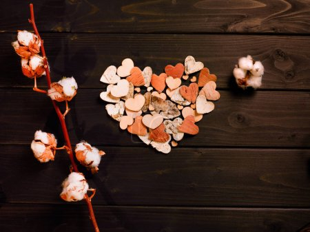 Paper hearts and cotton flowers