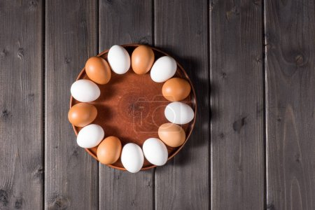 Chicken eggs on plate