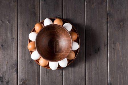 Chicken eggs on plate