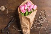 """Постер, картина, фотообои """"Букет из розовых тюльпанов"""""""