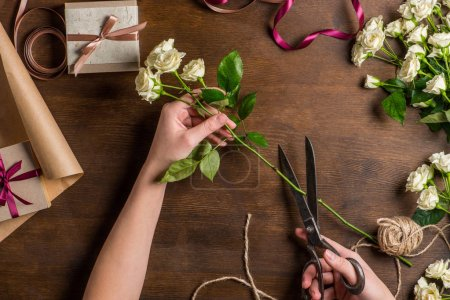 Hands cutting roses