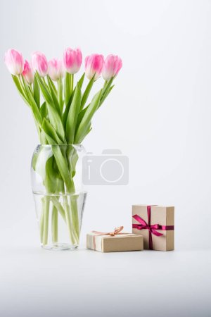 pink tulips and gifts