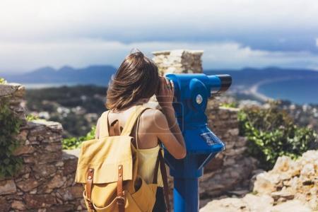 Hipster look observant binoculars telescope